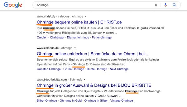 keywords in den Suchergebnissen